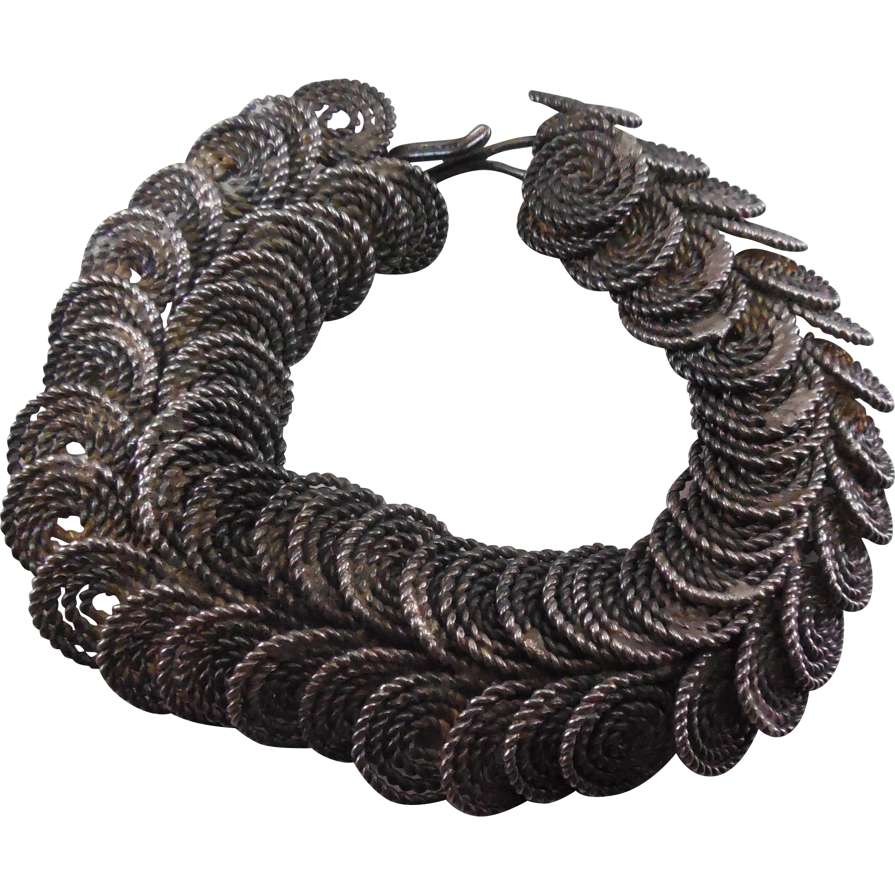 Older Vintage Egyptian Coil Silver Bracelet - Lots of Intricate Work - Nicely Detailed!
