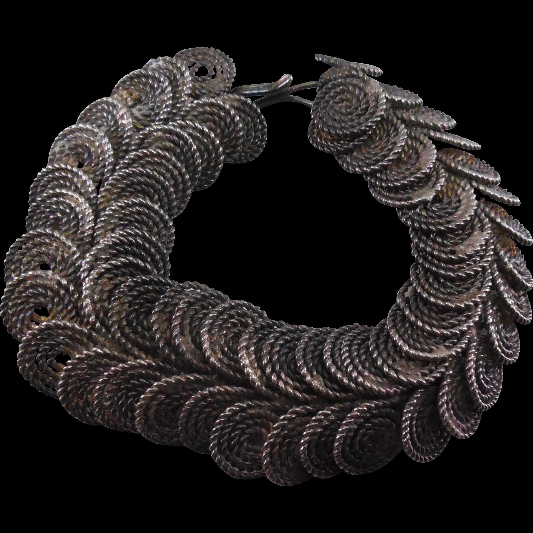 Older Vintage Egyptian Coil Silver Bracelet - Lots of Intricate Work - Nicely Detailed!