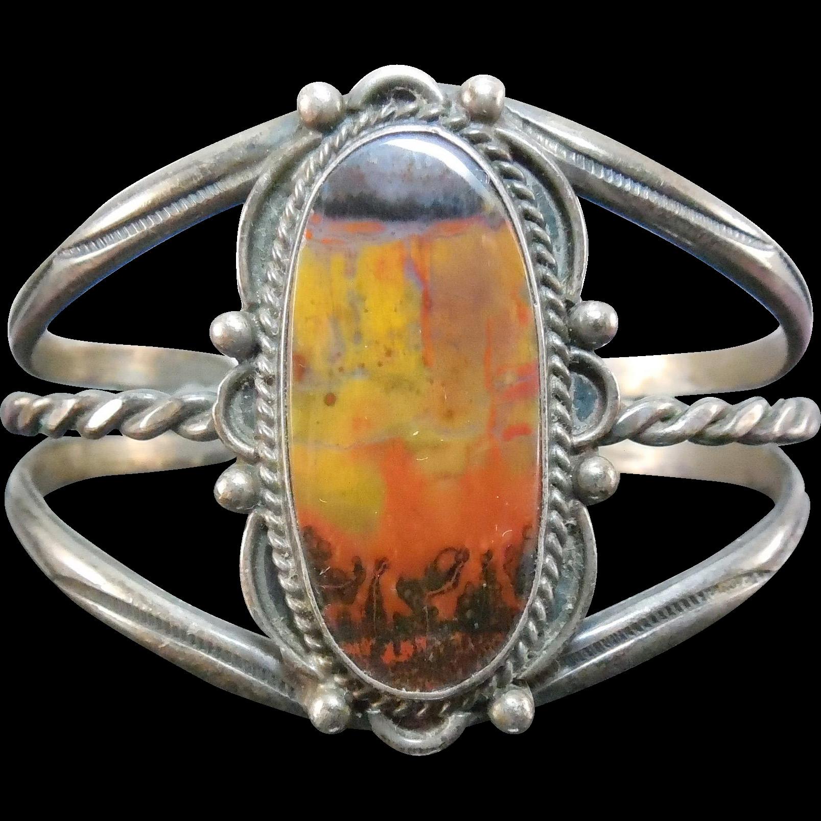 Vintage Native American Navajo Petrified Wood Silver Bracelet - Large Older Bracelet