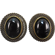 Vintage Designer Jan Micheals San Francisco Earring - Mesh With Onyx