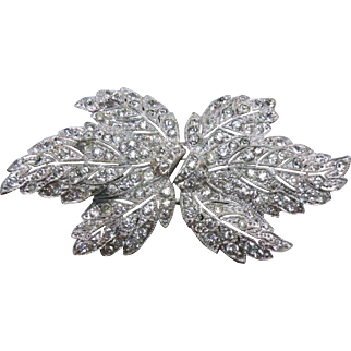 Vintage 1930s Duette Type Clip Brooch Sparkly Maple Leaf