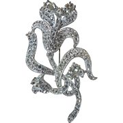 "Large Vintage 1930s Sparkly Rhinestone Flower Brooch 3.75"" x 2.25"""