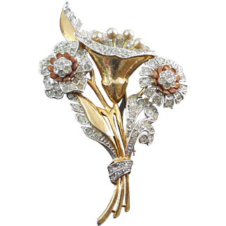 "Fabulous Vintage 1930s Rhinestone Flower Tri Color Brooch - Large Size 4"" x 2.6"""