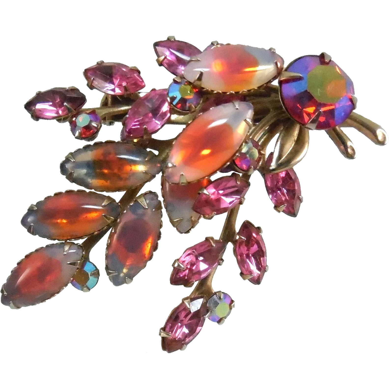 Vintage Pink & Orange and AB Crystal Brooch With Multicolored Stones
