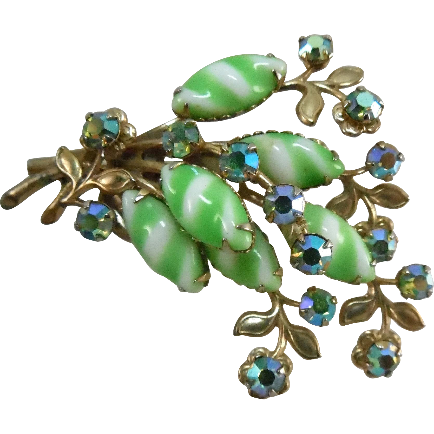 Vintage Blue Green AB Crystals &Green & White Striped Stones Botanical Brooch