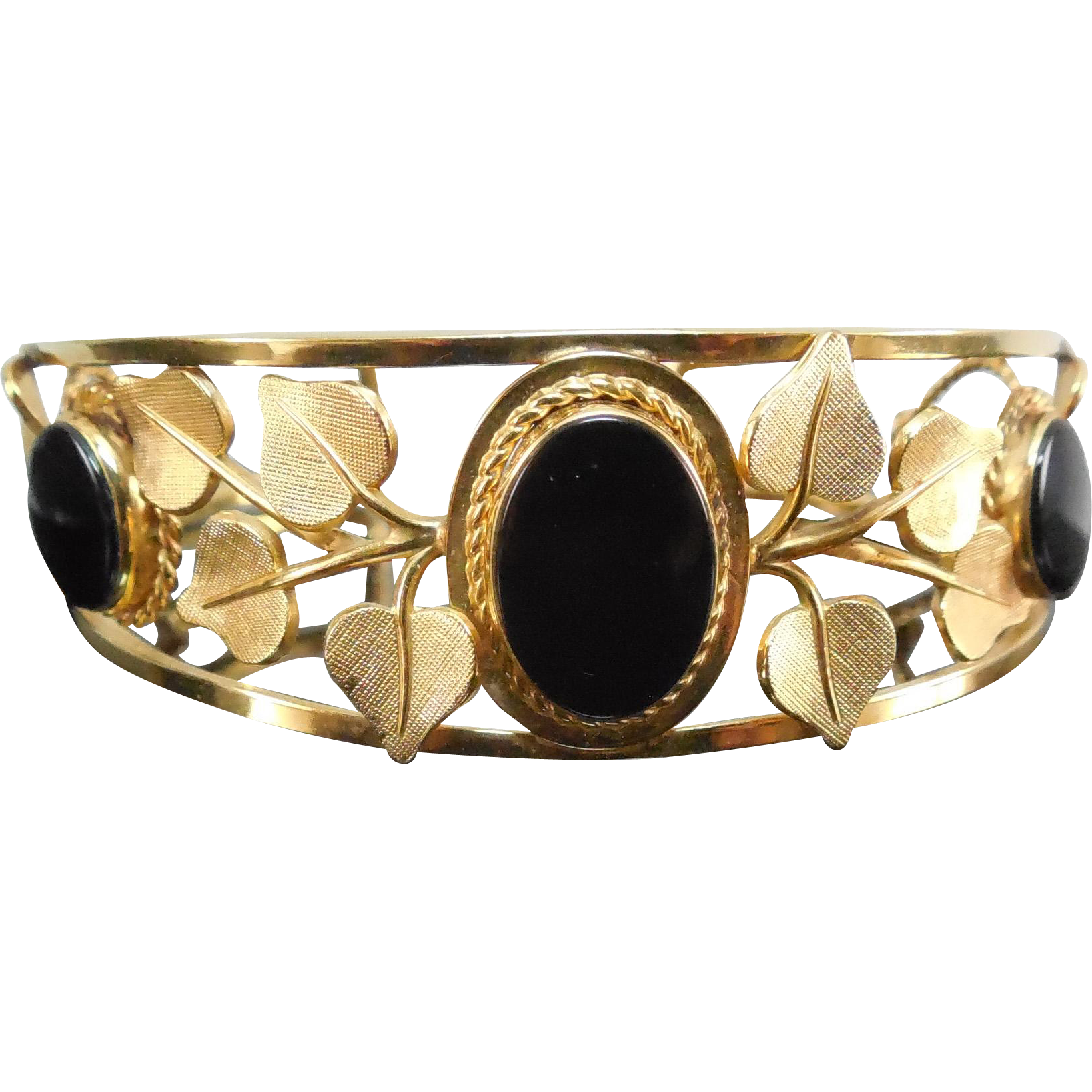 Vintage Gold Filled Cuff Bracelet Decorated With Leaves & Black Oval Stones