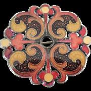 Antique Victorian Era Enamel Brooch Vintage 1800s Trombone Clasp
