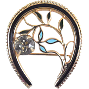 Vintage Horseshoe Brooch With Crystal & Enamel - Good Luck Brooch!