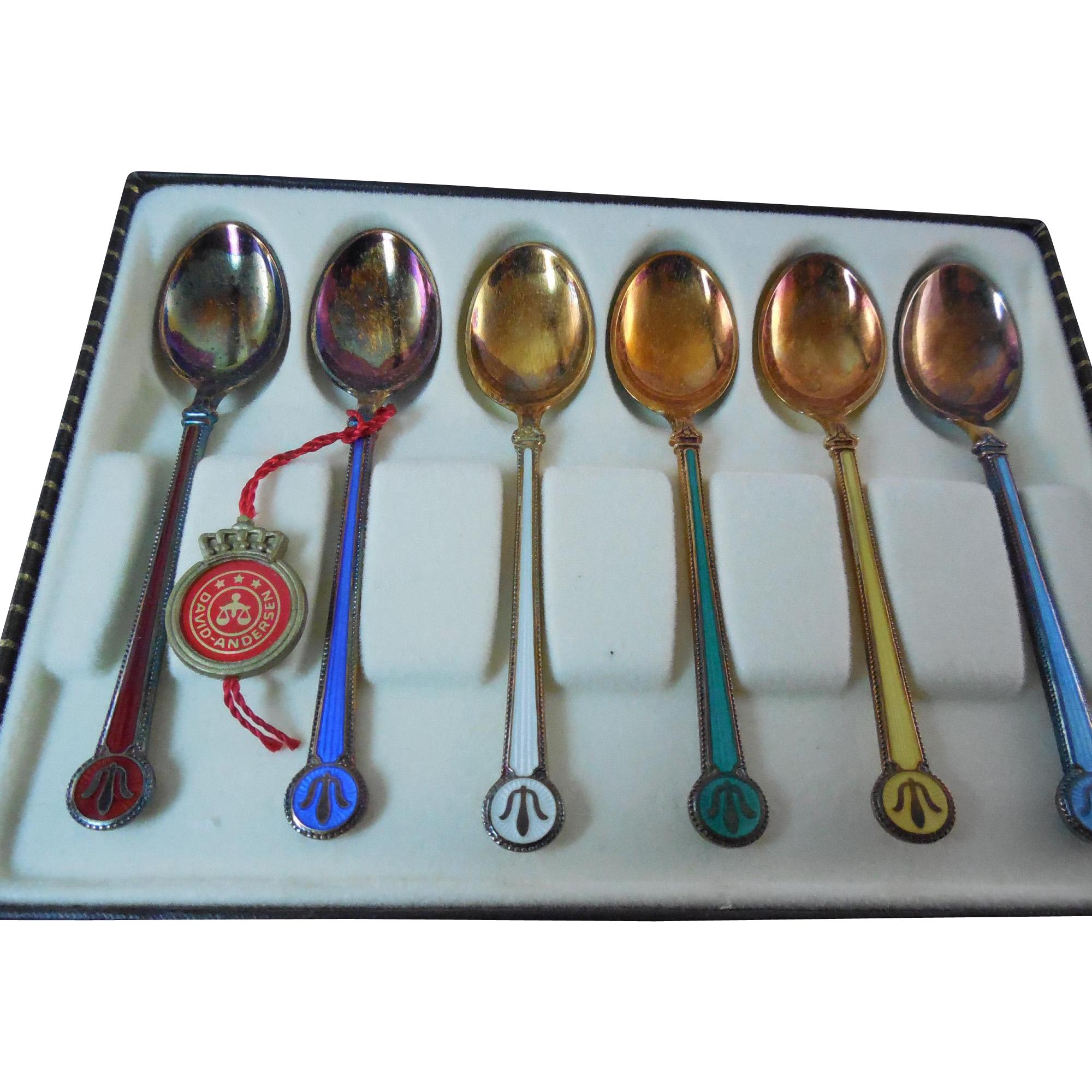 6 Vintage Sterling Enamel David Andersen Double Sided Enamel Spoon Set Original Box and Tag