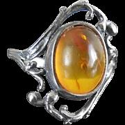 Vintage Signed Sterling Silver & Amber Ring With Vine & Berry Design - Signed EK