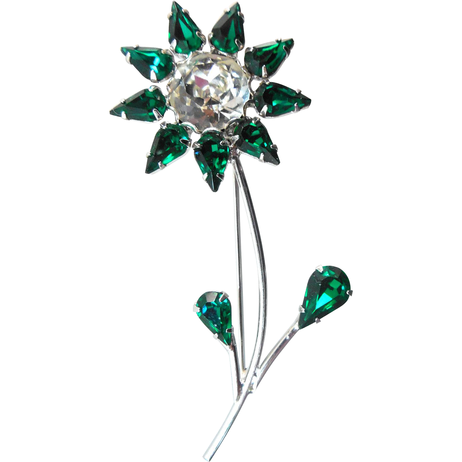 Sparkly Gorgeous Signed B David Flower Brooch - Green & White Crystals Rhodium Setting