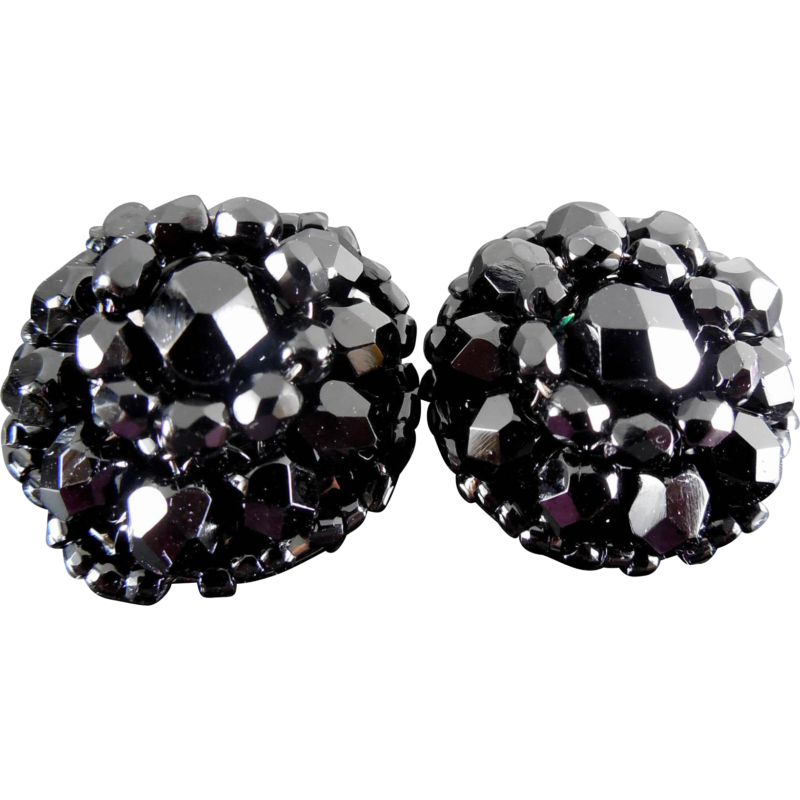 Classy Vintage Earrings - Gorgeous Black Glass Bead Dome Clip Ons