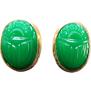 Early Mark Kenneth Lane Egyptian Revival Scarab Beetle Earrings - Circa 1970