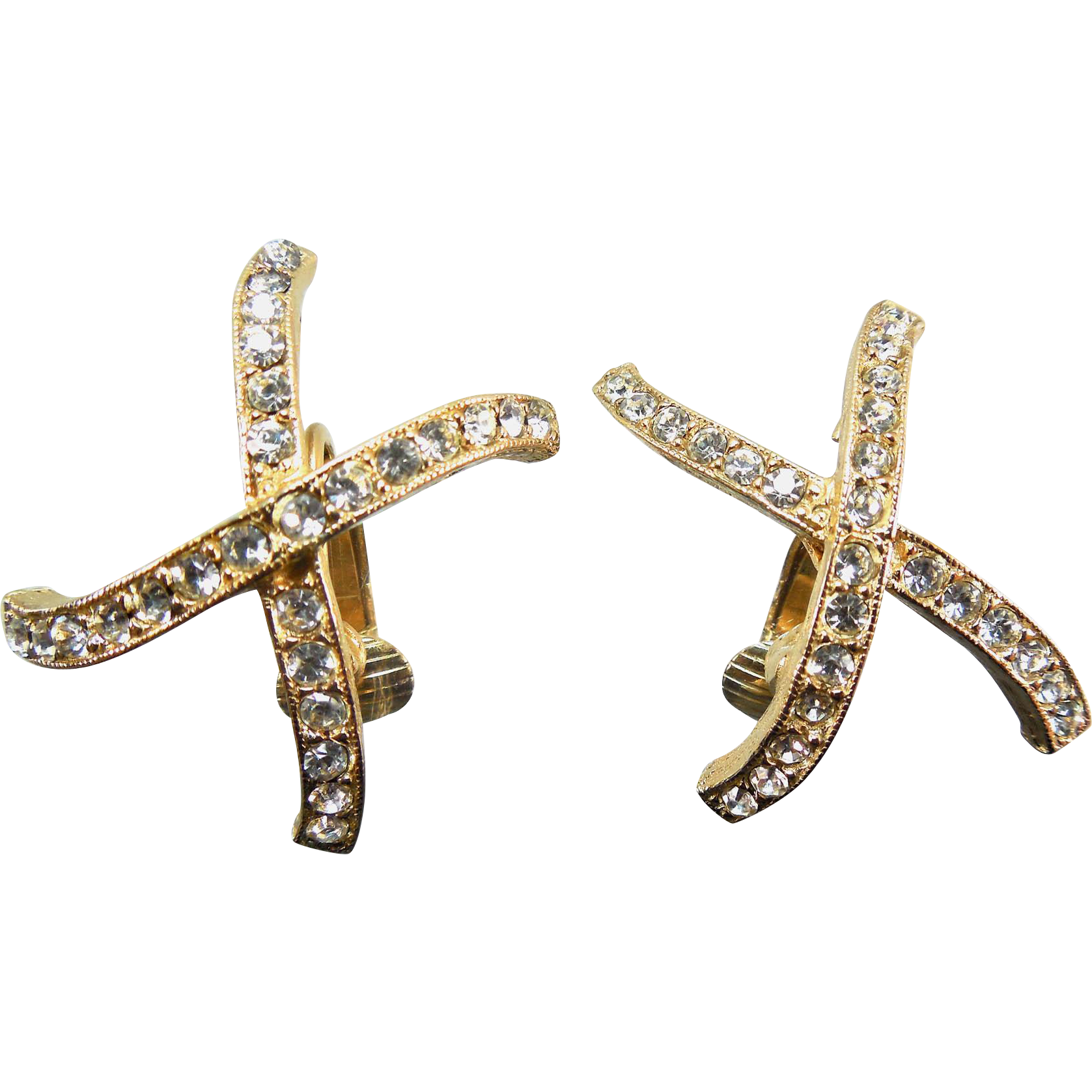 Vintage Kenneth Lane X or Cross Crystal Earrings That Clip On