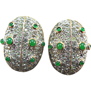 Vintage Nettie Rosenstein Pave Crystal Earrings - Insect Ladybugs or Beetles