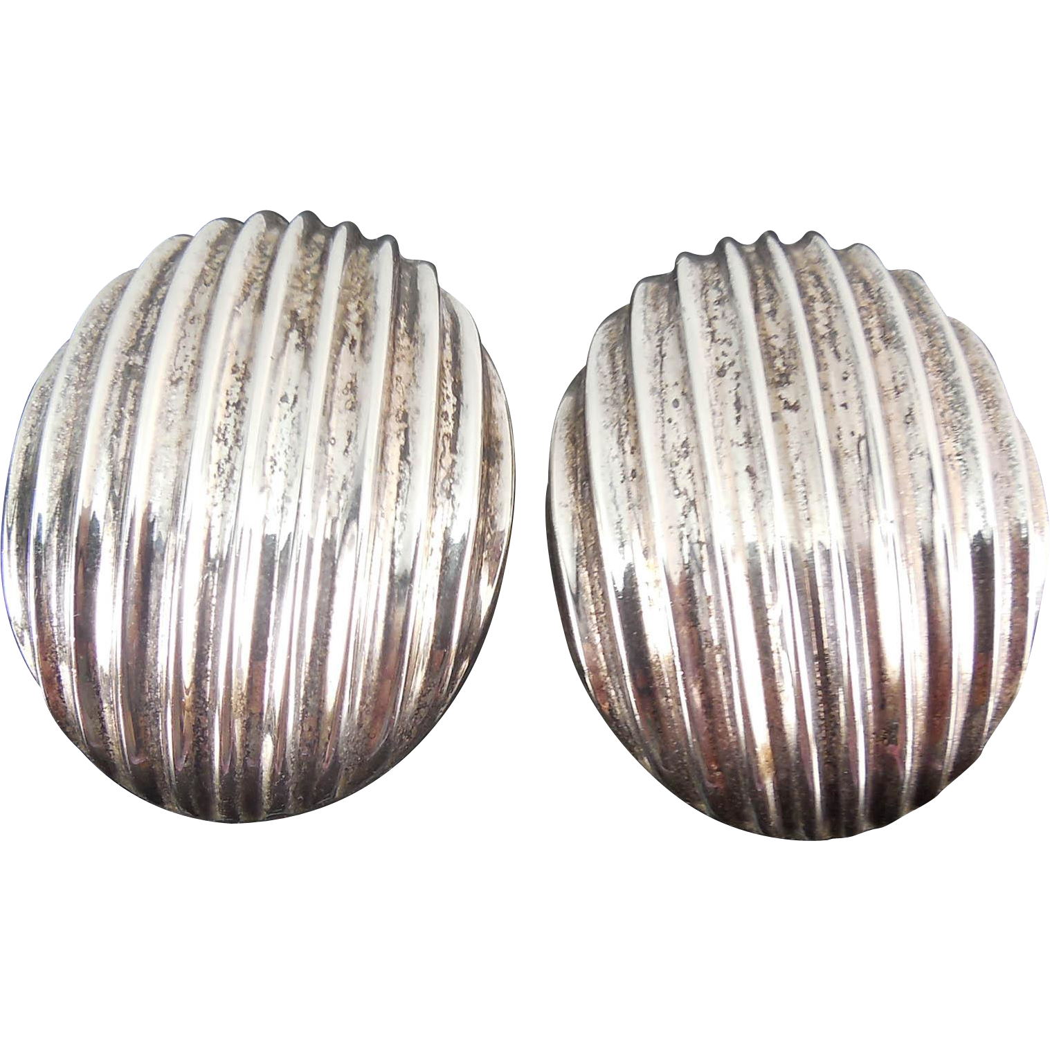 Vintage Mexican 970 Sterling Silver Taxco Earrings - Large Ribbed Ovals Signed TL-94