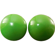 Retro Mod Vintage Lime Green Button Earrings - Circa 1960s