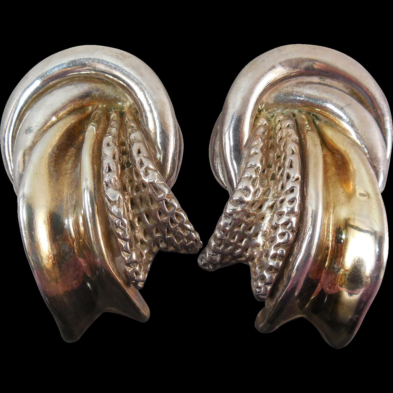 Statement Earrings - Huge Electroform Two Tone Sterling Silver 'Ribbon' Earrings - Signed! 29.6 Grams