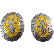 Signed S In A Diamond Siam Sterling Yellow Enamel Vintage Earrings