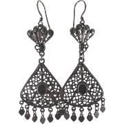 Long Dangling Tribal Earrings - Marked 925