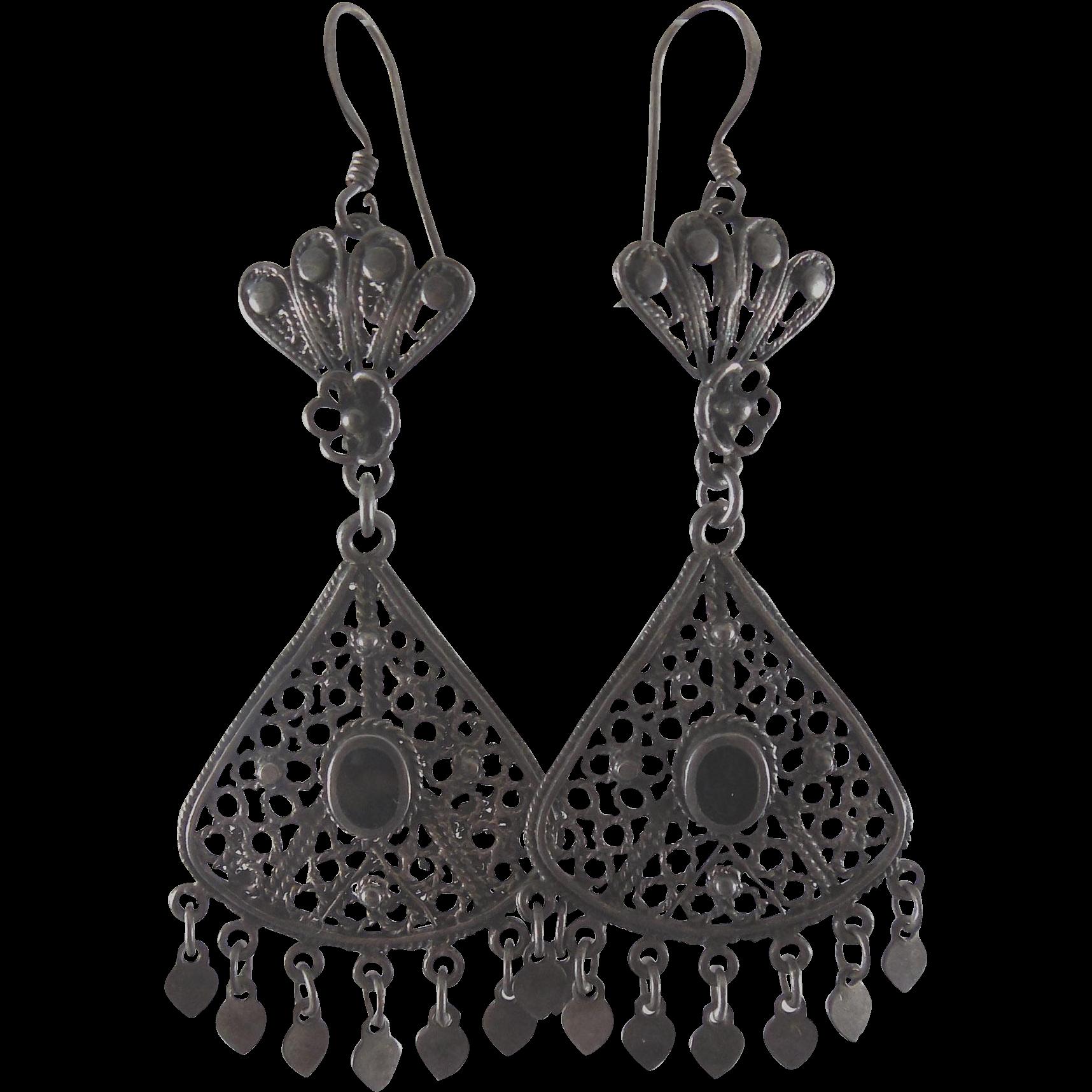 Long Dangling Tribal Earrings - Marked 925