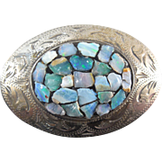 Sterling Silver Brooch With Opal Chips - Signed Scandia