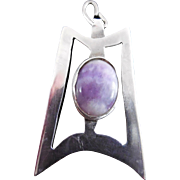 Silver & Amethyst Large Modernist Pendant
