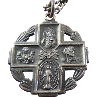 Vintage Sterling Silver 4 Way Religious Catholic Call A Priest Medal on Chain