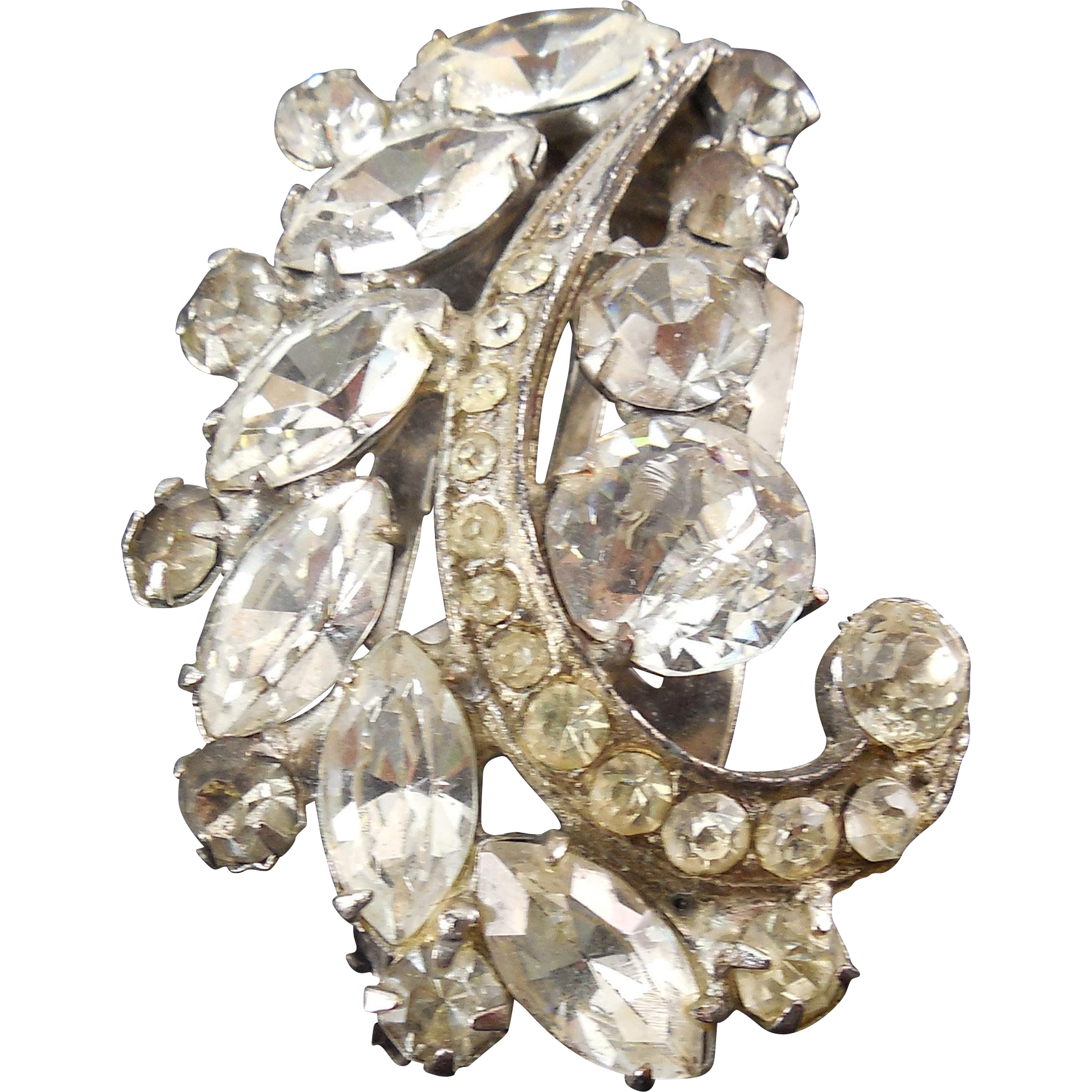 Beautiful Vintage Rhodium Plated Rhinestone Dress Clip