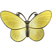 Rare Vintage Norway Sterling Silver Yellow Enamel Butterfly Signed Per Killingmo