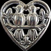 Signed Coro Sterling Lovebirds In Heart Brooch - 1942 Adolph Katz Design