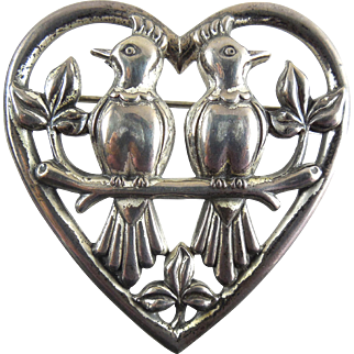 Signed Coro Sterling Lovebirds In Heart Brooch - 1942 Adolph Katz Design