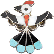 Vintage Native American Hopi Bird Brooch - Inlaid Stone Design