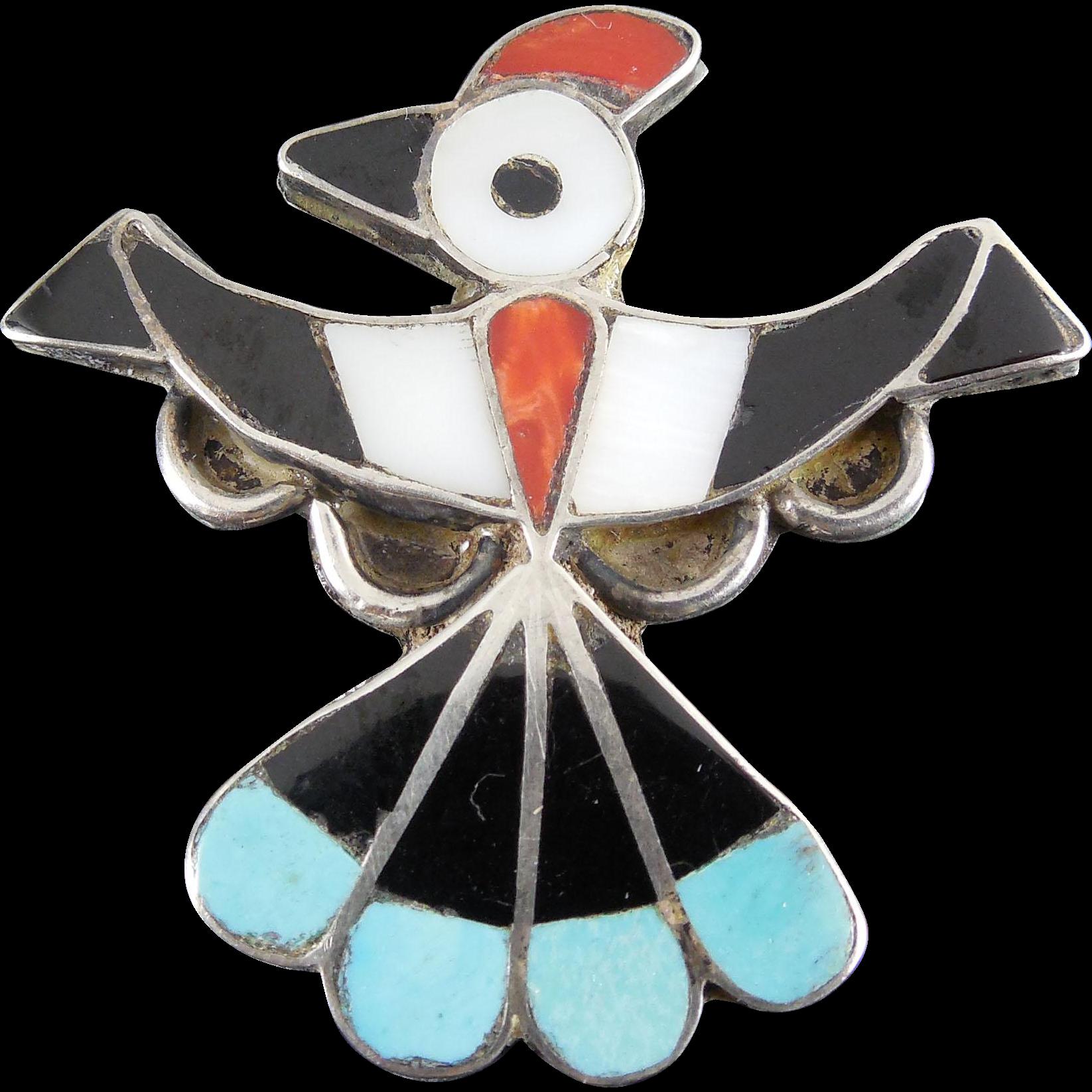 Vintage Native American Hopi Bird Brooch Inlaid Stone