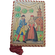 Vintage Needle Case Book Stockholm Handmade Hand Painted