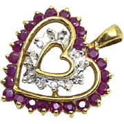 10K Gold Diamond & Red Gemstone Heart Pendant - Beautiful! Signed ADL