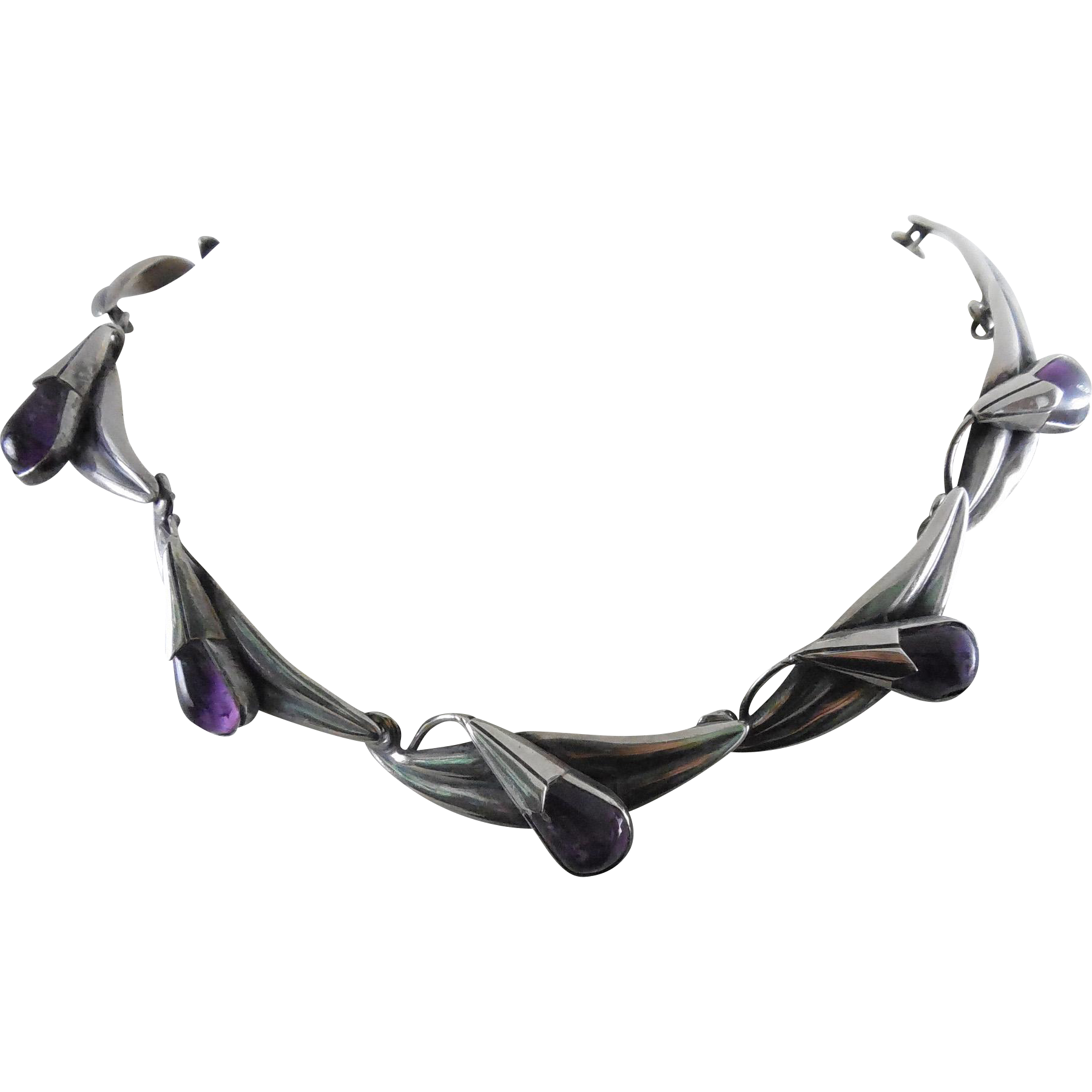 Gorgeous Vintage Mexico Sterling & Amethyst Necklace Signed MPO Taxco - Leave & Bud Design