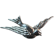 Large Vintage Signed 'Silver Mexico' Large Flying Swallow Bird Brooch