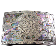 Mexican Sterling Silver 925 Abalone Aztec Calendar Buckle 75.3 Grams - Signed SLO