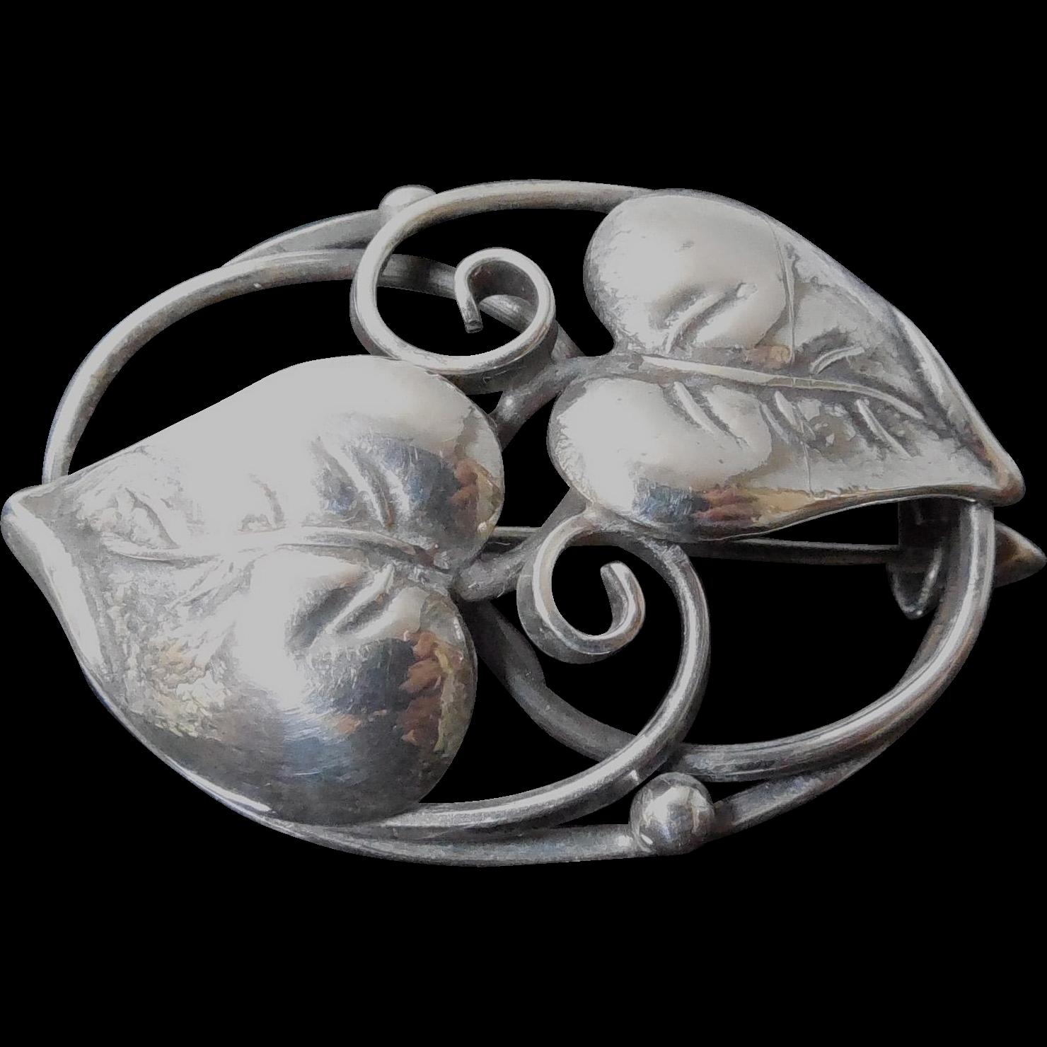 Vintage Denmark 830S Silver Oval Leaf Brooch - Signed Christian Veilskov