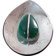 Signed G/J Mexico Sterling Silver Green Gemstone Teardrop Pendant Brooch