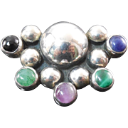 Mexico Sterling Silver Gemstone 'Bubble' Brooch Signed Dulce
