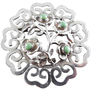 Older Vintage 'Signed Mexico Sterling' Filigree Domed Flower Brooch with Green Stones