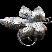 Older Vintage 'Mexico Silver' Large Sculptural Sterling Leaf Brooch