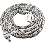 "Beautiful Vintage Sterling Silver Byzantine Chain Necklace Bali Indonesia Signed BA 24"" 34 Grams"
