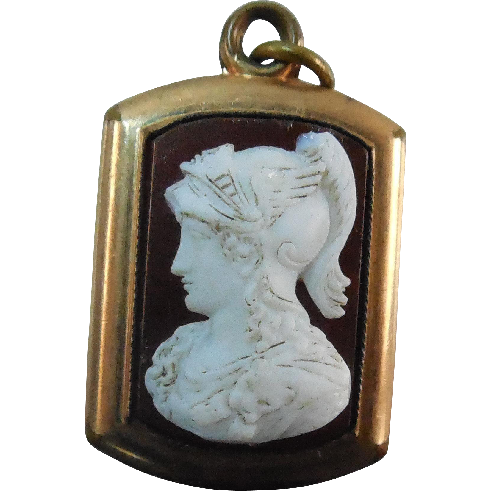 Antique Pendant or Fob Hermes or Mercury Cameo - Gold Filled Victorian Era