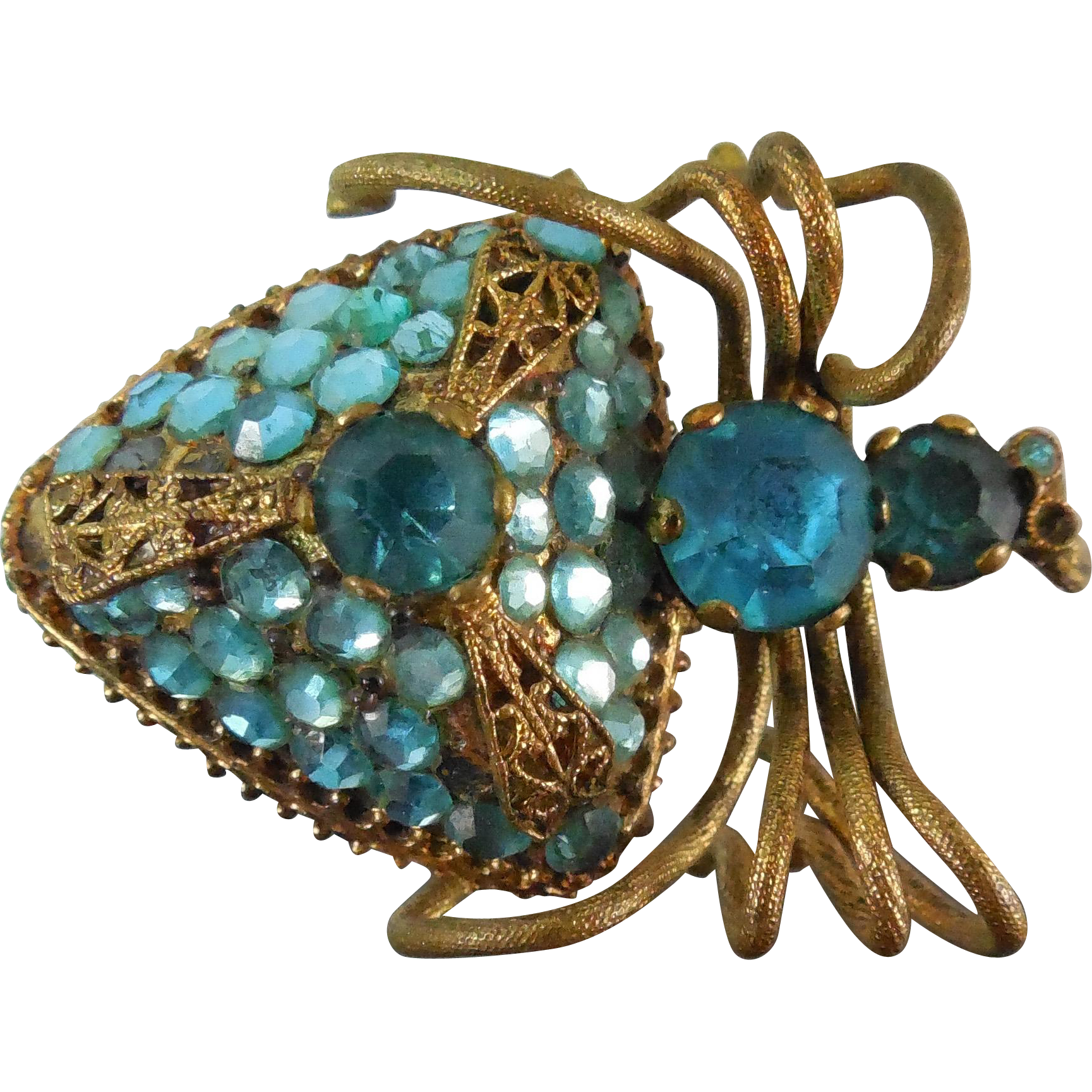 Vintage Czech Figural Insect Spider Brooch Gilt With Blue Rhinestones Circa 1920