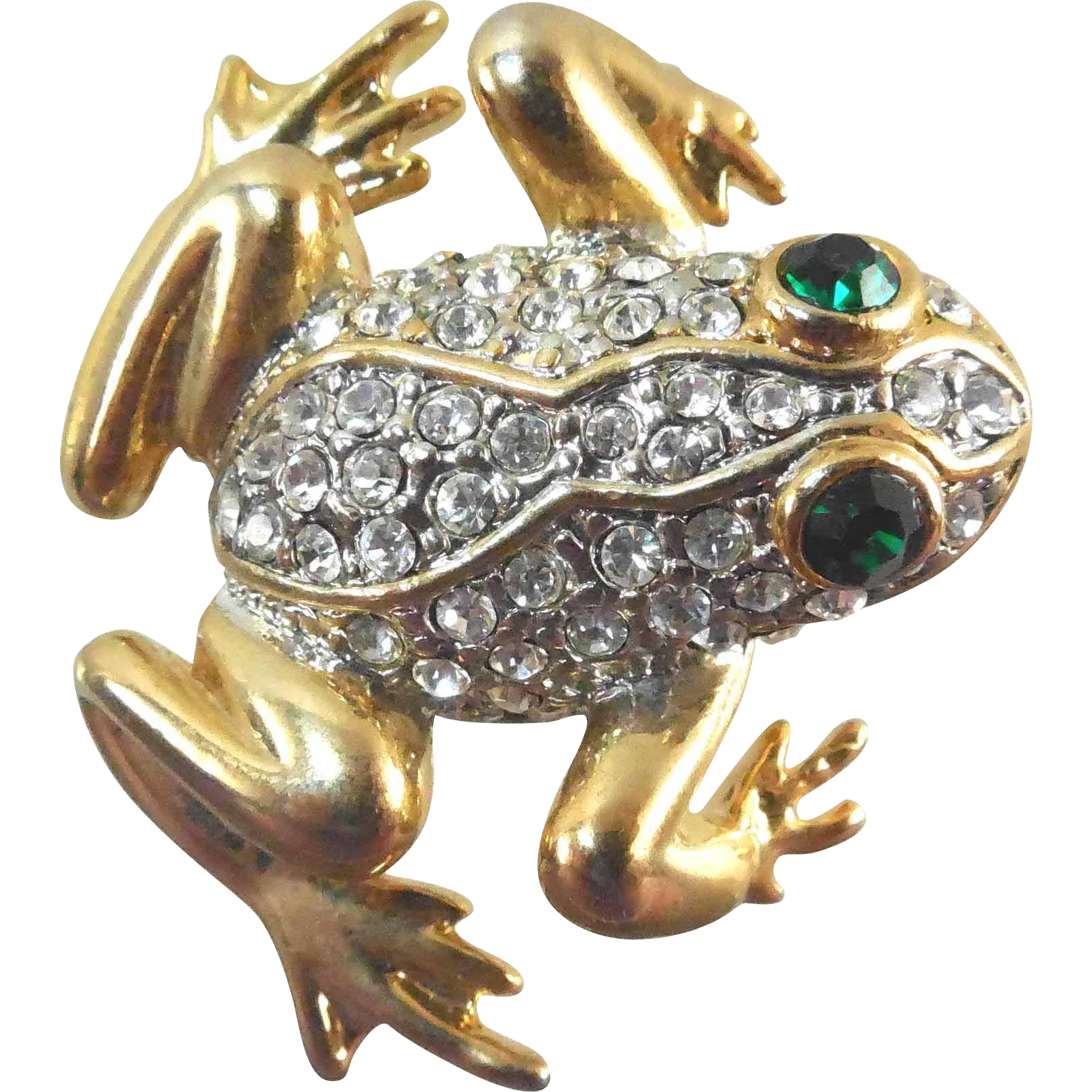 Vintage Rhinestone Frog Brooch - Green Eyed Signed & Heavily Gold Plated