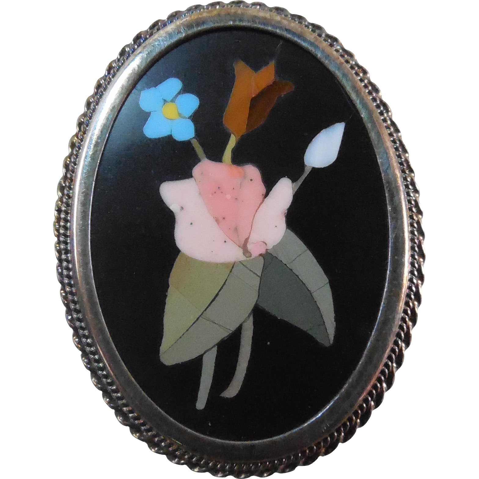 Vintage Signed  800 Silver Italian Pietra Dura Mosaic Flower Pendant Brooch TRAVERSARI