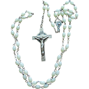 Beautiful Vintage Luminous Rosary with Sterling Crucifix & Centerpiece